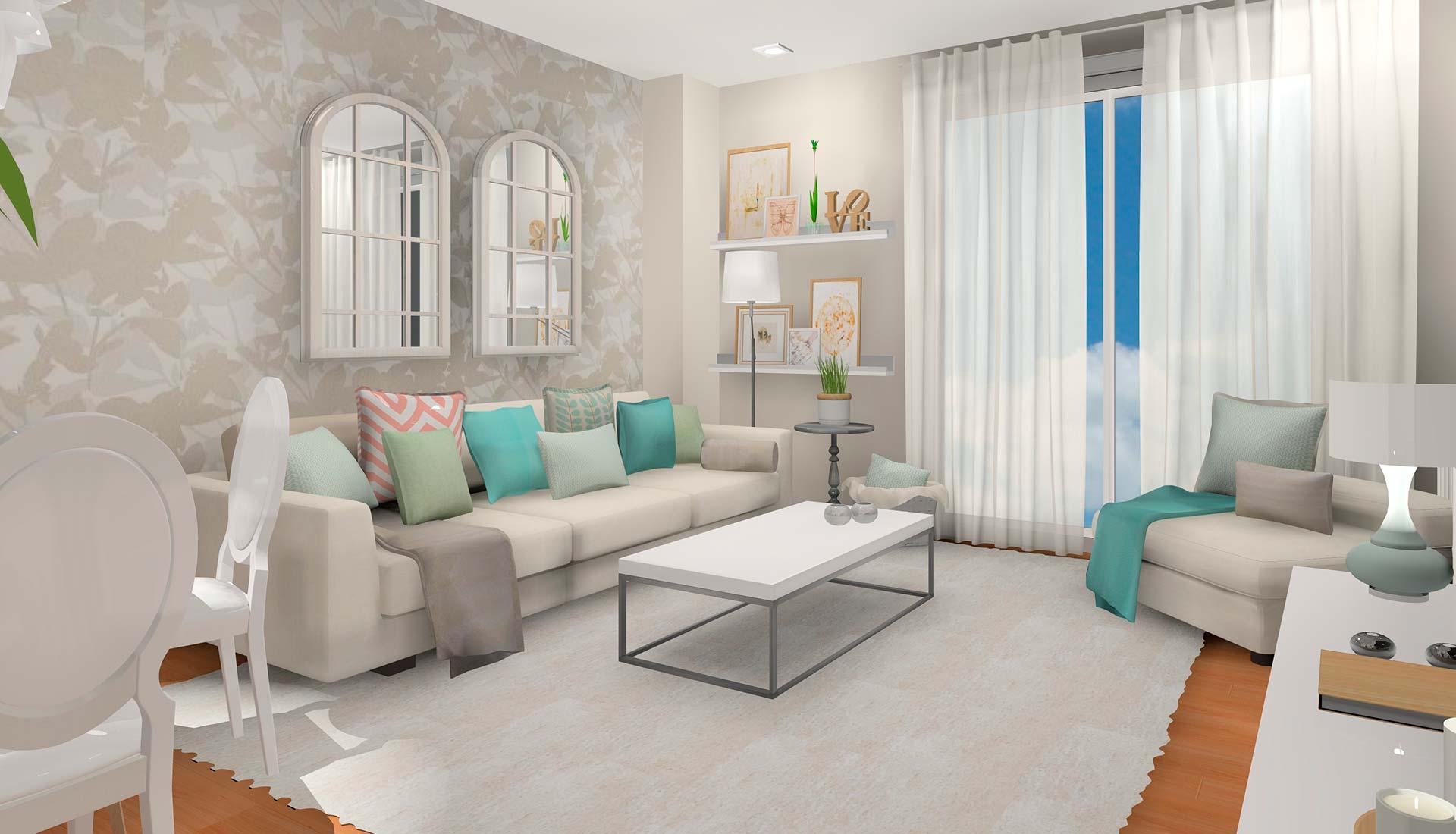 decoración interiores 3d lampara salon