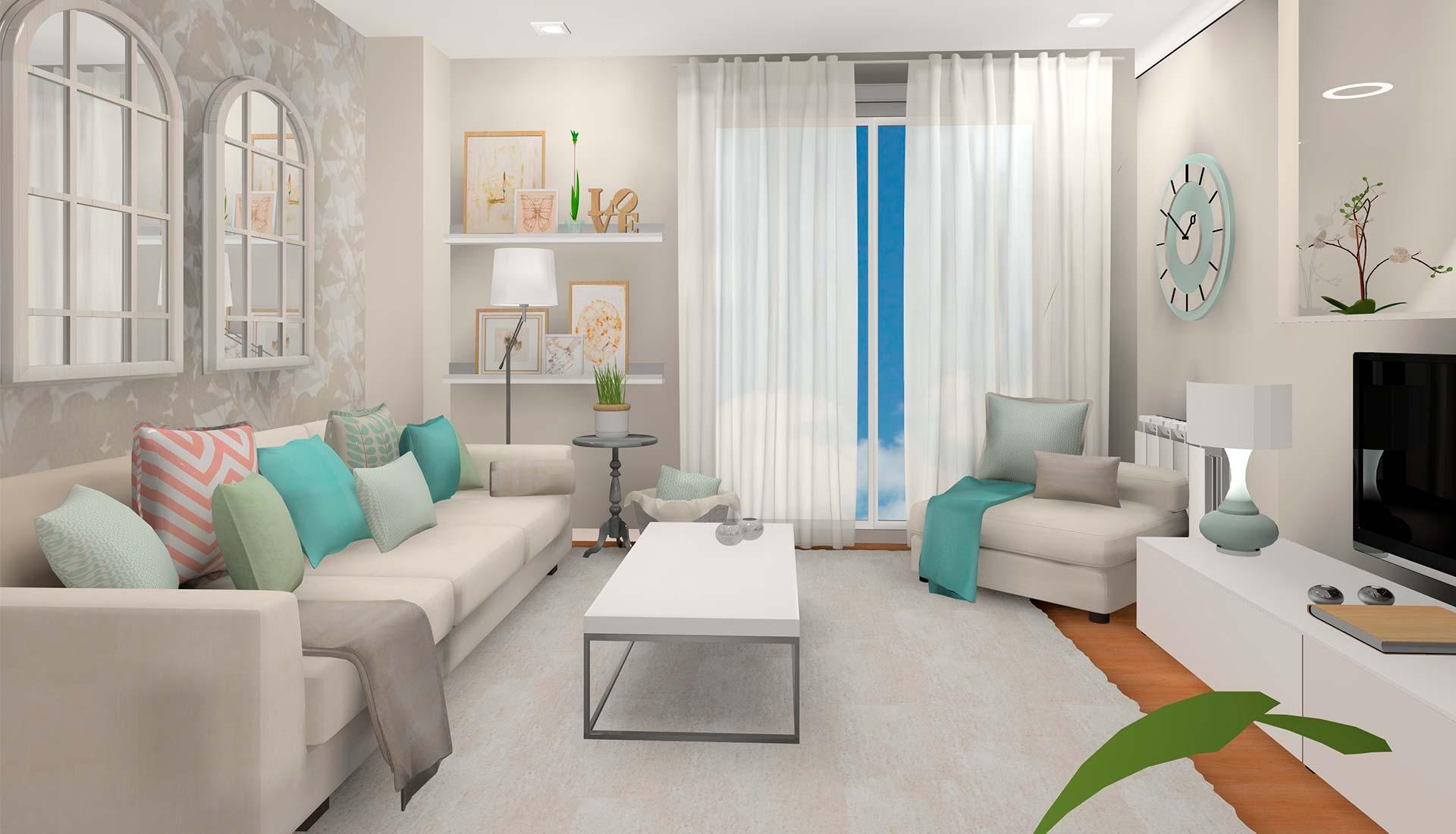 decoración interiores 3d salon