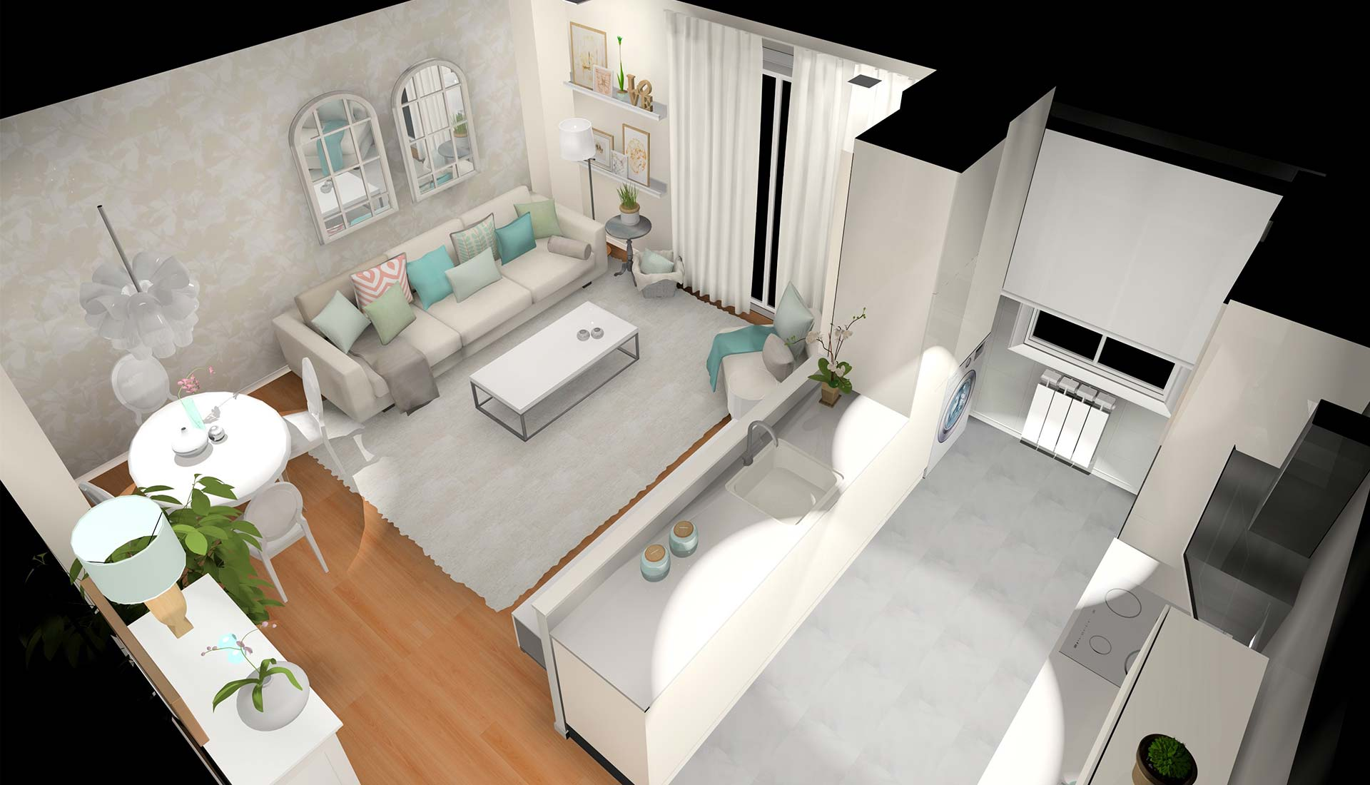 decoración interiores 3d plano